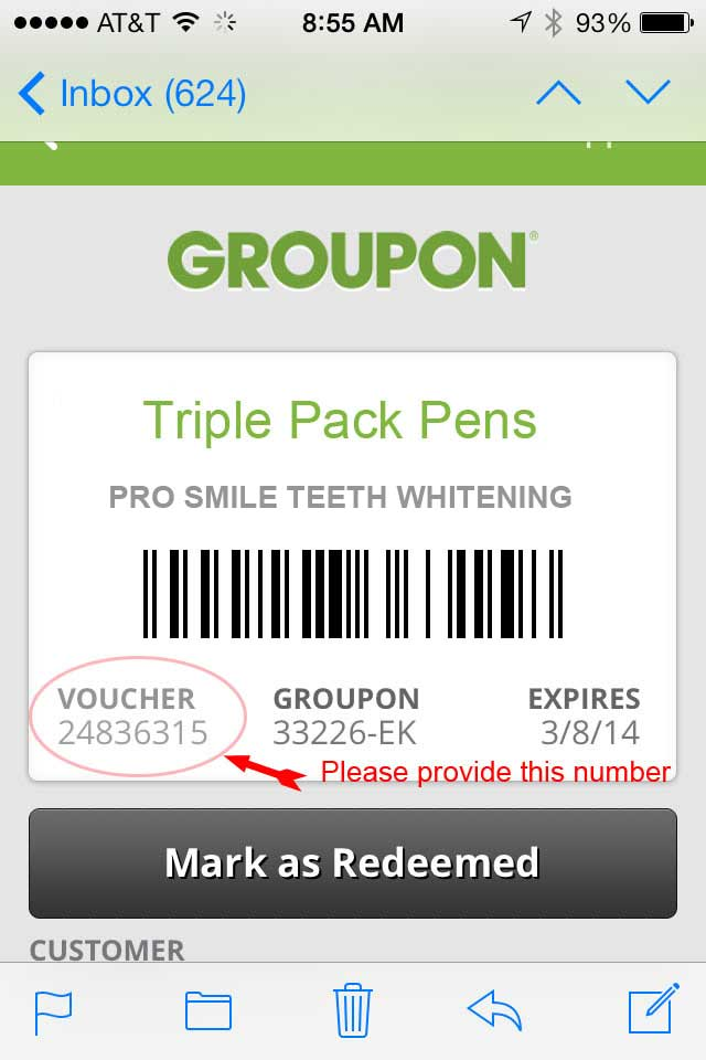 Groupon voucher if viewed on a mobile device